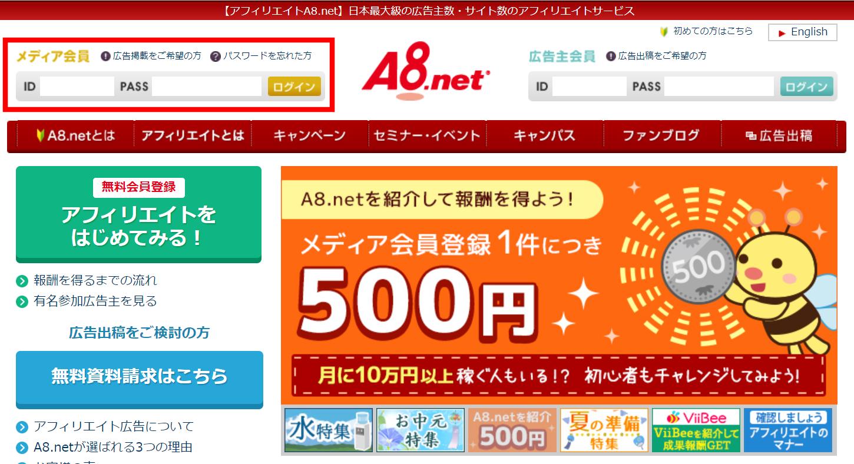 A8.netトップページから管理画面にログインする